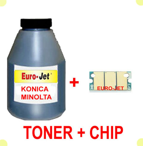 TONER IN BOTTLE & CHIP  KONICA MINOLTA BLACK 1600W 1650MF 1680MF 1690MF (A0V301H)