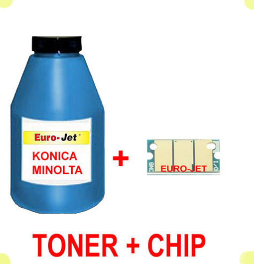 TONER IN BOTTLE & CHIP  KONICA MINOLTA CYAN  1600W 1650MF 1680MF 1690MF