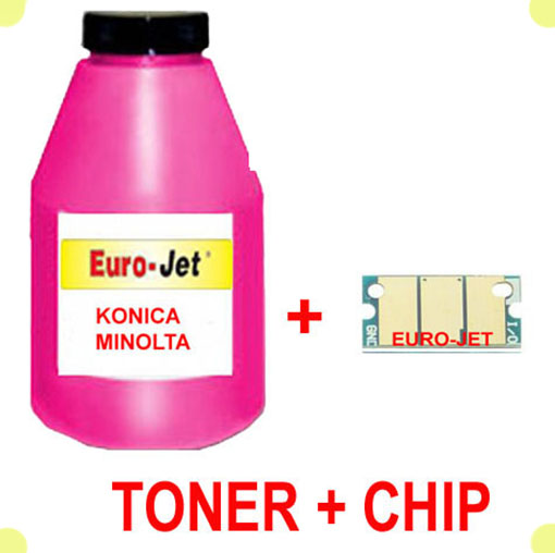 TONER IN BOTTLE & CHIP  KONICA MINOLTA MAGENTA 1600W 1650MF 1680MF 1690MF