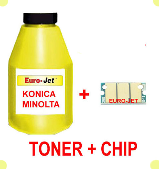 TONER IN BOTTLE & CHIP  YELLOW KONICA MINOLTA 1600W 1650MF 1680MF 1690MF