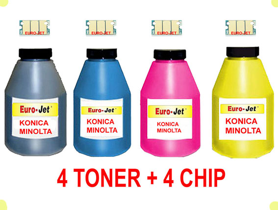 TONER IN BOTTLE & CHIP  KONICA MINOLTA 1600W BLACK + CYAN + MAGENTA + YELLOW