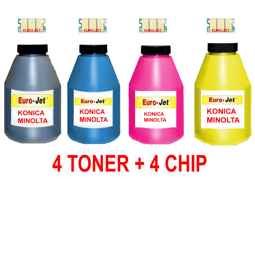 TONER IN BOTTLE & CHIP  KONICA MINOLTA 2400 BLACK + CYAN + MAGENTA + YELLOW