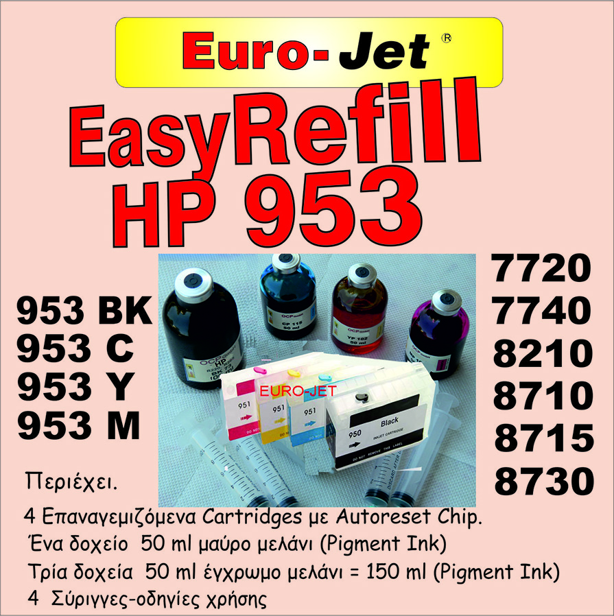 HP 953 ΕΠΑΝΑΓΕΜΙΖΟΜΕΝΑ CARTRIDGES BLACK & COLOR (ΜΕ 200ml ΜΕΛΑΝΙ)